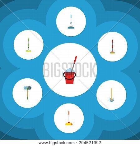 Flat Icon Mop Set Of Besom, Broomstick, Bucket And Other Vector Objects