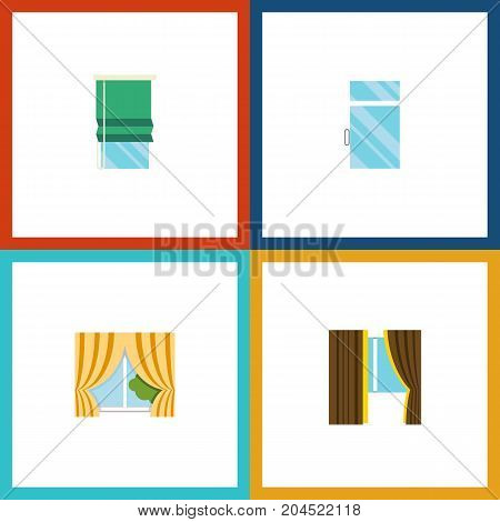 Flat Icon Window Set Of Glass Frame, Glass, Clean And Other Vector Objects