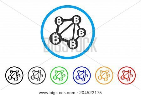 Bitcoin Network icon. Vector illustration style is a flat iconic bitcoin network gray rounded symbol inside light blue circle with black, gray, green, blue, red, orange color additional versions.
