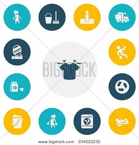 Set Of 13 Editable Cleanup Icons. Includes Symbols Such As Chores, Pail, Housework And More