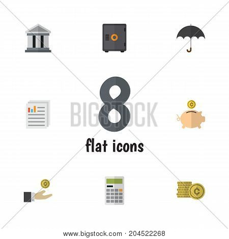 Flat Icon Gain Set Of Parasol, Bank, Cash And Other Vector Objects