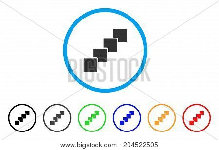 Blockchain icon. Vector illustration style is a flat iconic blockchain grey rounded symbol inside light blue circle with black, gray, green, blue, red, orange color additional versions.