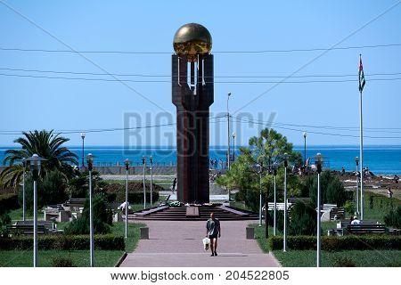 Gagra, Abkhazia - September 9, 2017 Monument to victory in the Abkhaz-Georgian war