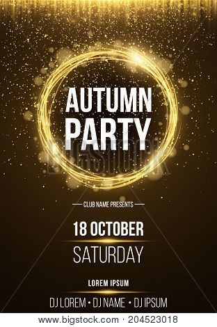 Background poster for autumn party. Shining golden banner with golden dust. Abstract yellow lights. Seasonal poster. DJ and club name. Vector illustration