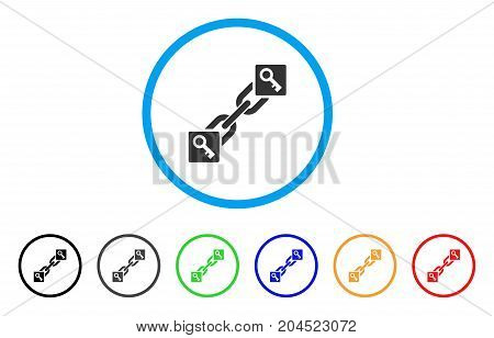 Key Blockchain icon. Vector illustration style is a flat iconic key blockchain grey rounded symbol inside light blue circle with black, gray, green, blue, red, orange color variants.