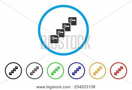Key Blockchain icon. Vector illustration style is a flat iconic key blockchain gray rounded symbol inside light blue circle with black, gray, green, blue, red, orange color variants.