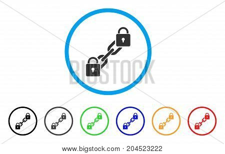 Lock Blockchain icon. Vector illustration style is a flat iconic lock blockchain grey rounded symbol inside light blue circle with black, gray, green, blue, red, orange color additional versions.