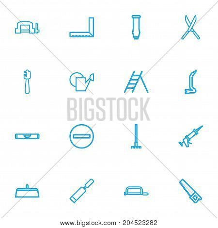 Set Of 16 Editable Apparatus Outline Icons. Includes Symbols Such As Handsaw, Saw, Balance