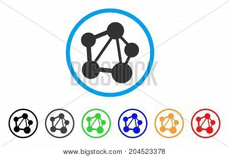 Network icon. Vector illustration style is a flat iconic network gray rounded symbol inside light blue circle with black, gray, green, blue, red, orange color versions.