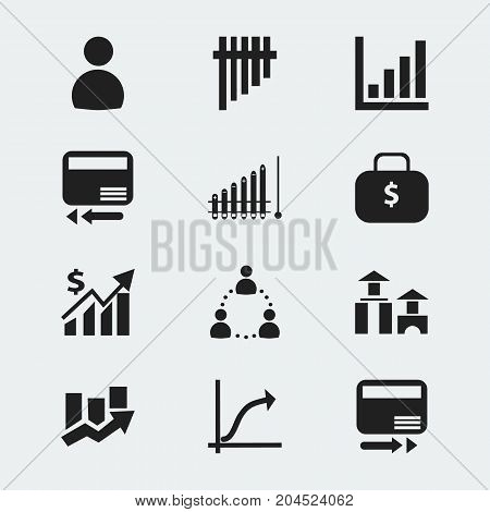 Set Of 12 Editable Statistic Icons. Includes Symbols Such As Upward Direction, Transmission, Revenue And More