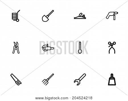 Set Of 12 Editable Tools Outline Icons. Includes Symbols Such As Device, Scraper, Spanner And More