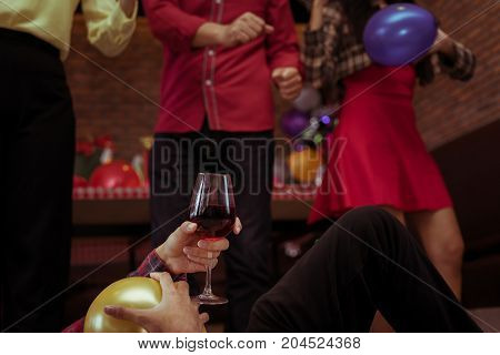 Men hang and drunk after drinking wine in x'mas party with friend group together dance