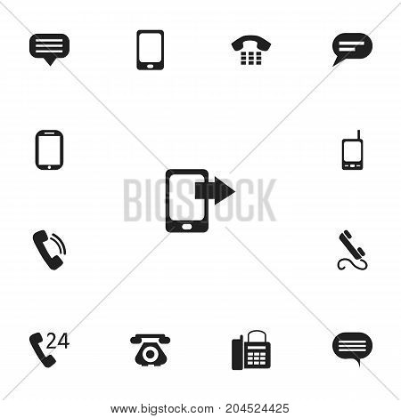 Set Of 13 Editable Phone Icons. Includes Symbols Such As Office Telephone, 24 Hour Servicing, Radio Talkie And More