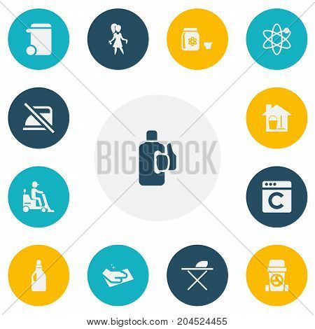 Set Of 13 Editable Hygiene Icons. Includes Symbols Such As Pressboard, Laundry Detergent, Towel And More