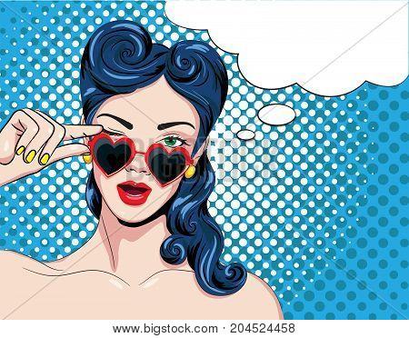 Vector illustration of a pop art woman with red glasses.Speech bubble