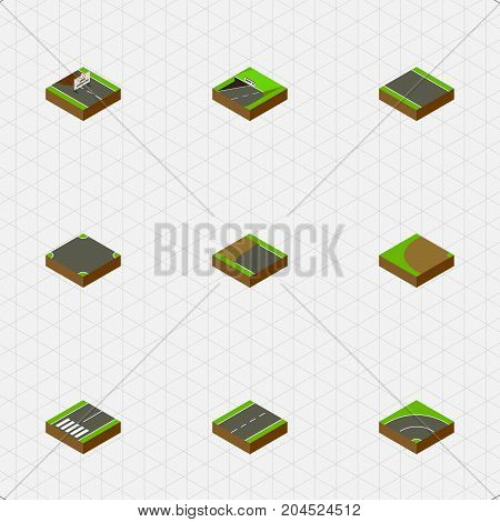 Isometric Way Set Of Subway, Without Strip, Driveway And Other Vector Objects