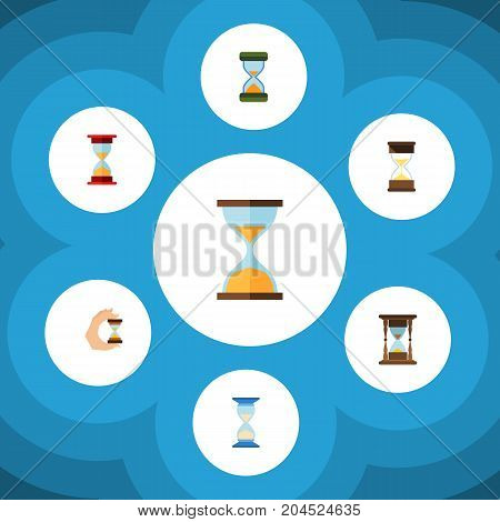 Flat Icon Sandglass Set Of Loading, Sand Timer, Waiting Vector Objects