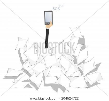 Hand with smart phone which calls for help and a pile of documents. Hand with smart phone which calls for help SOS arises from the pile of documents