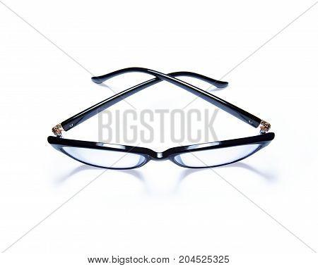 eyeglasses isolated on white background. black eyeglasses
