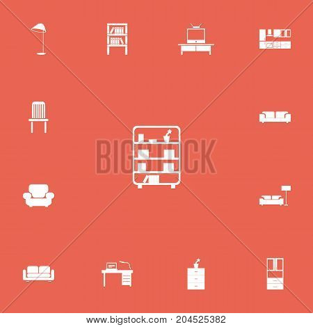 Set Of 13 Editable Interior Icons. Includes Symbols Such As Illuminant, Bookshelf, Tv And More