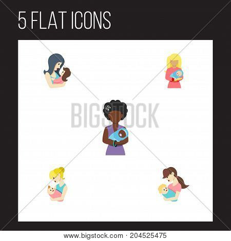 Flat Icon Parent Set Of Mam, Child, Newborn Baby And Other Vector Objects