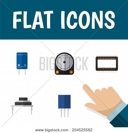 Flat Icon Device Set Of Mainframe, Transistor, Hdd And Other Vector Objects