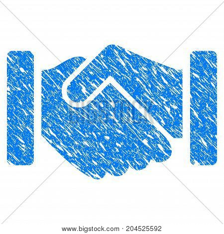 Grunge Agreement Handshake icon with grunge design and unclean texture. Unclean vector blue pictogram for rubber seal stamp imitations and watermarks. Draft sign symbol.