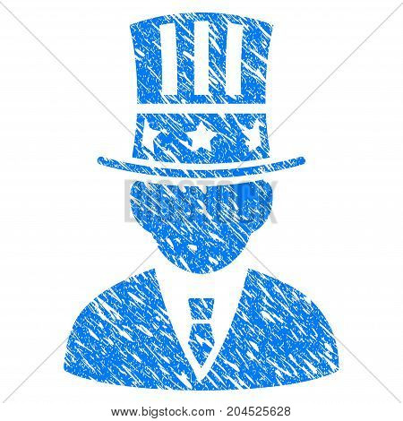 Grunge American Capitalist icon with grunge design and dust texture. Unclean vector blue pictogram for rubber seal stamp imitations and watermarks. Draft emblem symbol.