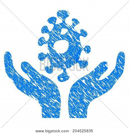 Grunge Biotechnology Care Hands icon with grunge design and dust texture. Unclean vector blue pictogram for rubber seal stamp imitations and watermarks. Draft sign symbol.