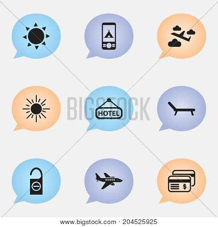 Set Of 9 Editable Journey Icons. Includes Symbols Such As Sun, Plastic Money, Aviation And More