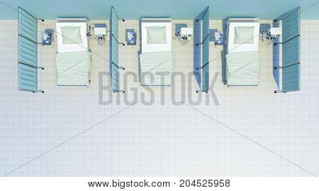 hospital beds cabin top view. 3d rendering