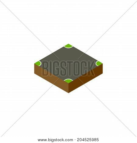 Crossroad Vector Element Can Be Used For Crossroad, Intersection, Road Design Concept.  Isolated Intersection Isometric.