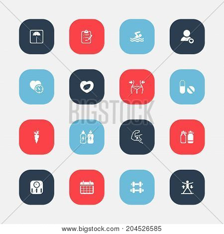 Set Of 16 Editable Sport Icons. Includes Symbols Such As Leaf In Heart, Pill, Root Vegetable And More