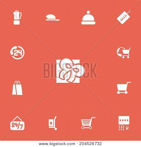 Set Of 13 Editable Trade Icons. Includes Symbols Such As Open Everyday, Headgear, Handcart