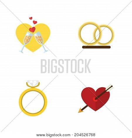 Flat Icon Amour Set Of Engagement, Ring, Celebration And Other Vector Objects