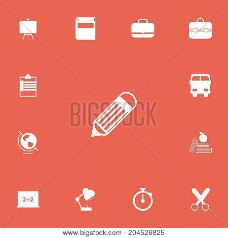 Set Of 13 Editable School Icons. Includes Symbols Such As Textbook, Lighting, Transport Vehicle And More
