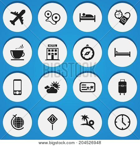 Set Of 16 Editable Journey Icons. Includes Symbols Such As Compass, Bag, Mattress And More