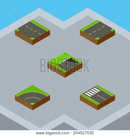 Isometric Road Set Of Bitumen, Underground, Down And Other Vector Objects