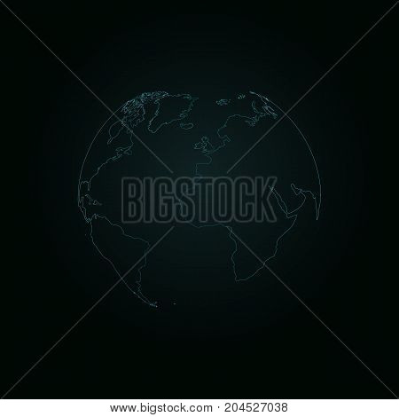 The planet earth shines in the dark blue. Neon stripes. Continents of the earth. Asia Europe America. Vector illustration