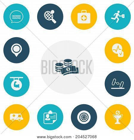 Set Of 13 Editable Mixed Icons. Includes Symbols Such As Emergency, Businessman, Position And More