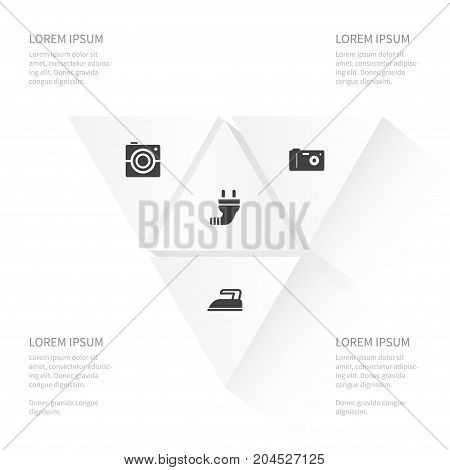 Icon Appliance Set Of Photocamera, Photo, Wire And Other Vector Objects