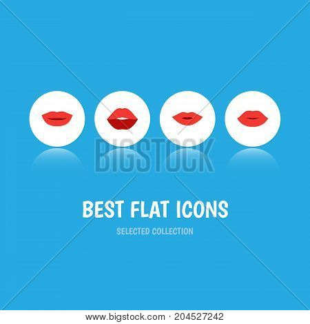 Flat Icon Lips Set Of Mouth, Pomade, Lipstick And Other Vector Objects