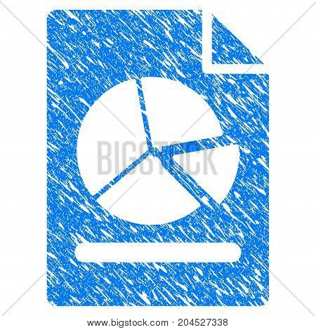 Grunge Pie Chart Report Page icon with grunge design and unclean texture. Unclean vector blue pictogram for rubber seal stamp imitations and watermarks. Draft sign symbol.