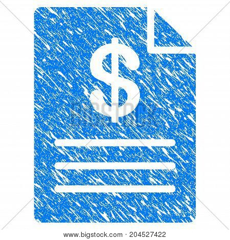 Grunge Price List icon with grunge design and dirty texture. Unclean vector blue pictogram for rubber seal stamp imitations and watermarks. Draft sign symbol.