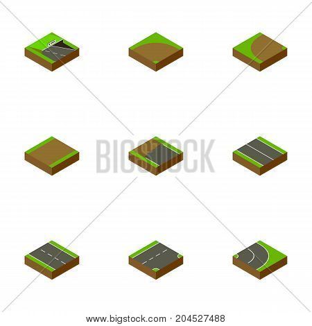 Isometric Road Set Of Single-Lane, Down, Flat And Other Vector Objects