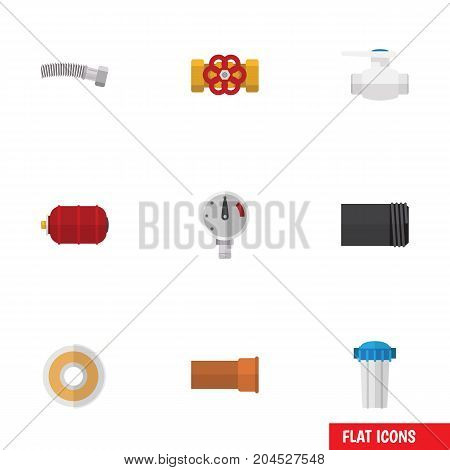 Flat Icon Plumbing Set Of Corrugated Pipe, Pressure, Roll And Other Vector Objects