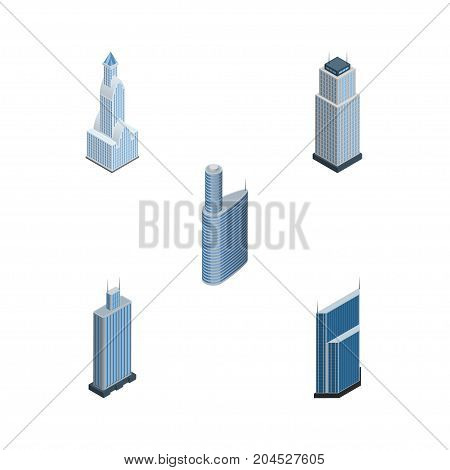 Isometric Skyscraper Set Of Building, Tower, Residential And Other Vector Objects