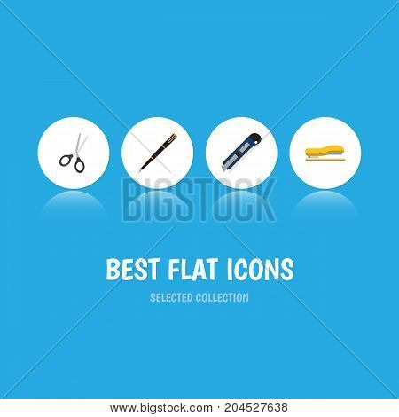 Flat Icon Stationery Set Of Nib Pen, Clippers, Supplies And Other Vector Objects