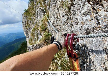 Climbing On Via Ferrata Route