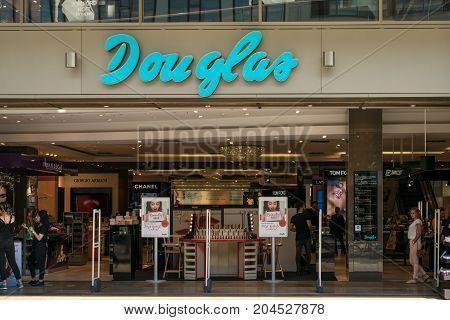 Frankfurt, Germany - July 27, 2017: Parfumerie Douglas is a global perfumery store chain based in Hagen.